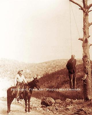 STAGECOACH ROBBER HANGING PHOTO SHERIFF WILD WEST JUSTICE BY ROPE 1900 #20670