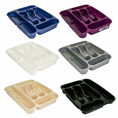 6 Compartment Plastic Cutlery Knife Holder Tray Drawer Rack Caddy