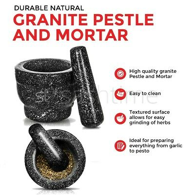 New Natural Granite Pestle And Mortar Spice Herb Crusher Grinder Grinding Paste