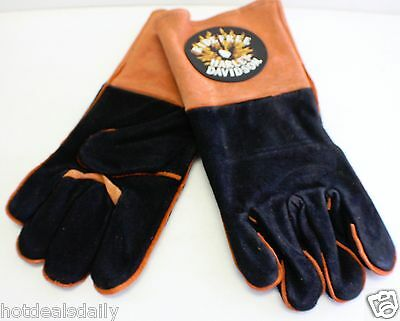 Harley Davidson Wood Stove Fireplace Welding Gloves Motorcycle Flames Black Oran