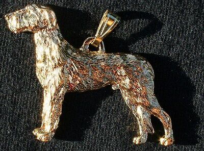 IRISH WOLFHOUND Dog 24K Gold Plated Pewter Pendant Jewelry