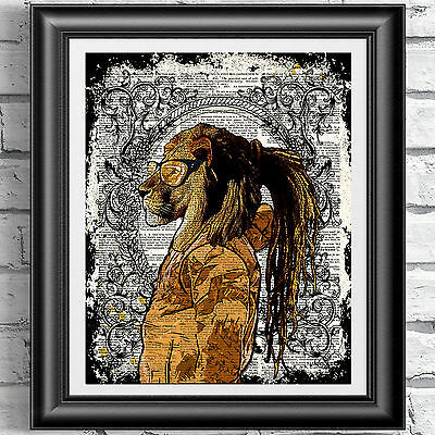 ART PRINT ORIGINAL ANTIQUE BOOK PAGE Hipster Animal dreadlocks Lion DICTIONARY