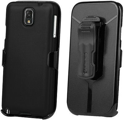 BLACK CASE + BELT CLIP HOLSTER + SCREEN PROTECTOR FOR SAMSUNG GALAXY NOTE 3 III