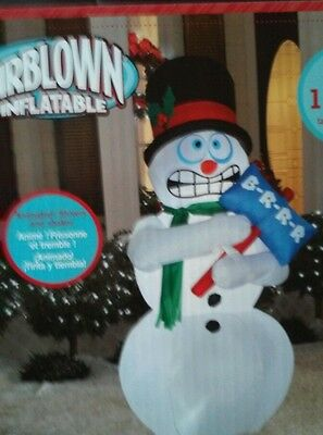 New Airblown shivering shaking 6' snowman lights animated inflatable Christmas