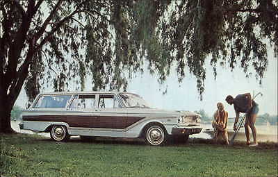 CAR 1963 Ford Fairlane Squire Station Wagon Advert Postcard