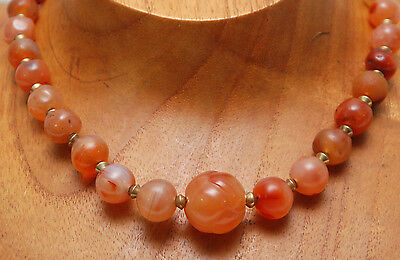Old African Carnelian Round Bead Necklace w/ Hand-Carved Carnelian Knot Bead