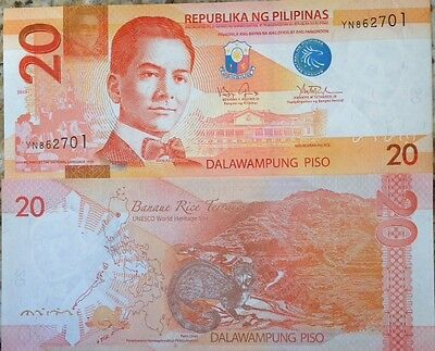 Philippines 2014 20 Piso Uncirculated Banknote P-New Buy From A Usa Seller !!