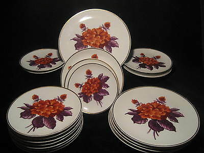 19 HAND PAINTED RED FLOWER UCAGCO CHINA PLATES (OCCUPIED JAPAN) W/PURPLE LEAVES
