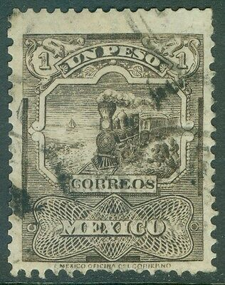 MEXICO : 1897. Scott #254a Trains. Wmk sideways. VF, Used Scarce stamp. Cat $900