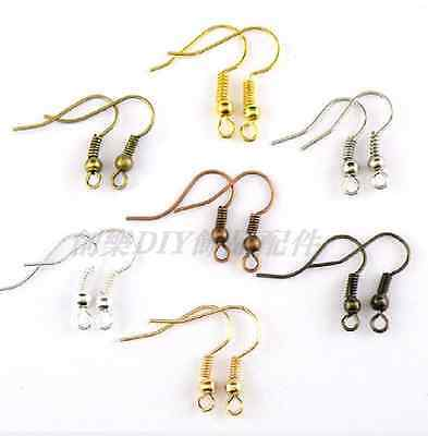 100pcs EARRING HOOK COIL EAR WIRE FOR JEWELRY Making Findings 19MM
