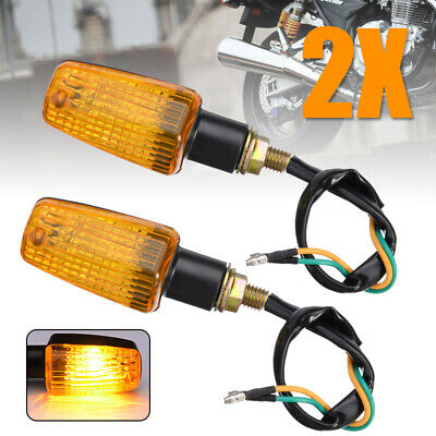 2x Mini Universal Motorcycle Turn Signal Indicator Light Lamp Bulb Black Plastic