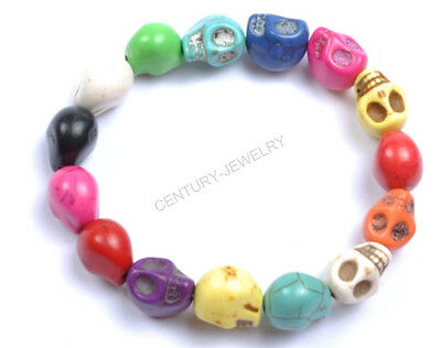 Mixed Color Charms Punk Rock Turquoise Sugar Skull Bracelet Elastic Wristband