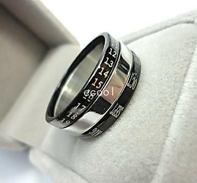 Black&silver color men women turned calendar 316 Stainless steel Ring jewelry