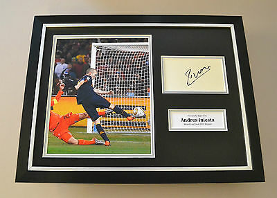 Andres Iniesta Signed Framed 16x12 Photo Autograph Display Spain World Cup + COA