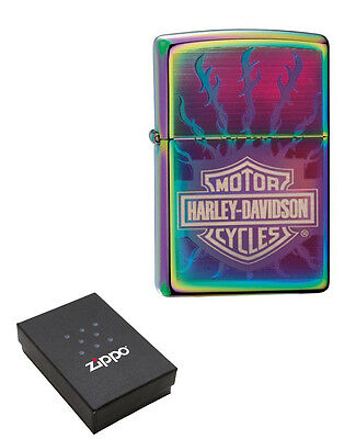 Personalised Zippo Spectrum Harley Davidson Flaming Barbed Wire 24031HD RARE