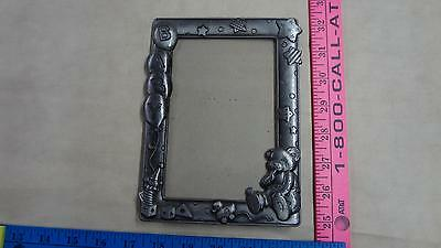 "Pewter look baby picture frame teddy bear measures 7"" x 5"" nice first photo"
