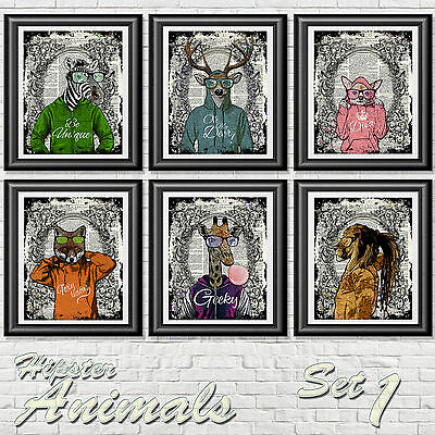 Set of Hip Hop Funny Animals Vintage Dictionary Page Print Wall Art Picture