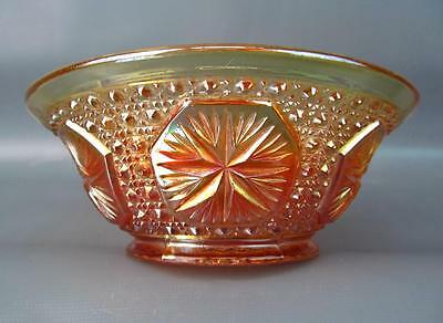 "BUDGET FRIENDLY CARNIVAL GLASS ~ IMPERIAL #671 STAR MEDALLION MARIGOLD 6"" BOWL"