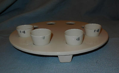 1940's Coors Industrial Procelain Footed Laboratory Cup Tray with 4 Cups