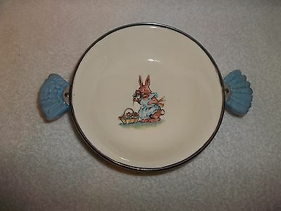 Vintage Majestic Products Porcelain Rabbit Stainless Child Baby Warming Dish Pet