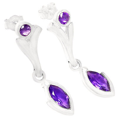 Amethyst 925 Sterling Silver Earrings Jewelry E2152A