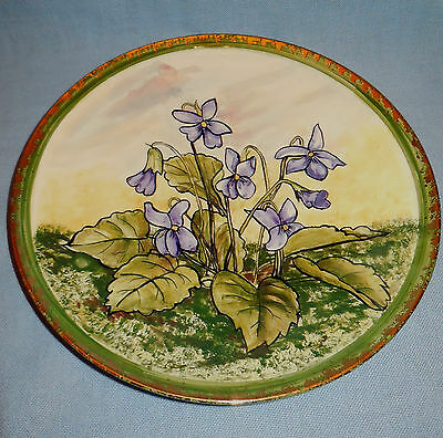 1931 Pottery Handpainted with Violets10 inch diameter Plate with High glaze