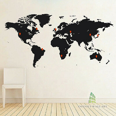 Detailed Large World Map Wall Art Stickers, Wall Decal Stickers -- PD140