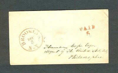 """BROOKLYN NY 1840s/51 envelope w/Rimless """"PAID 5"""" to United States Bank, Phila."""
