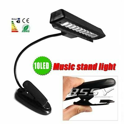 Super 10 LED White Light Reading Book Kindle Orchestral Sheet Music Stand Lamp