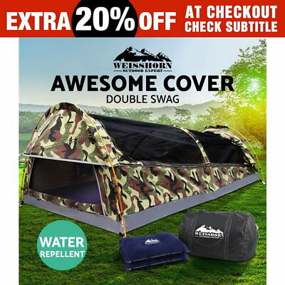 Weisshorn Double Canvas Swag Camping Tent Deluxe Aluminum Pole  Bag Camouflage
