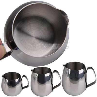 UN3F New Stainless Steel Drum Shape Espresso Coffee Milk Frothing Jug Cup Jar