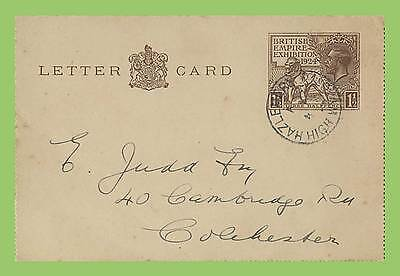 G.B. 1924 KGV 1½d Wembley postal stat. Lettercard used, High Wycombe cds