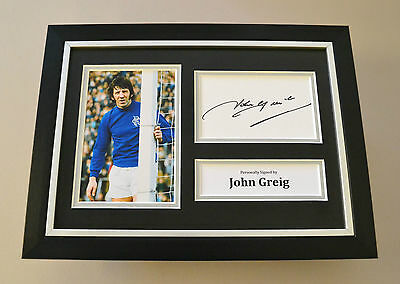John Greig Signed A4 Photo Framed Display Autograph Rangers Memorabilia + COA
