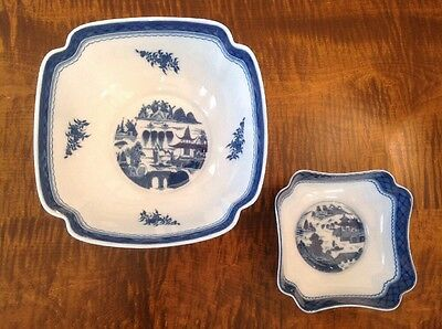 """2 Square """"Blue Canton"""" Nesting/Serving Bowls by Mottahedeh ~ LOT"""