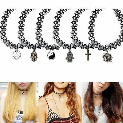 Tattoo 80s 90s Stretch Pendant Choker Necklace Black Elastic Retro Henna Collar