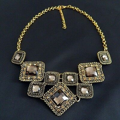 New Fashion Tide Retro Bronze Square Piece Of Connection Crystal Inlay Necklace