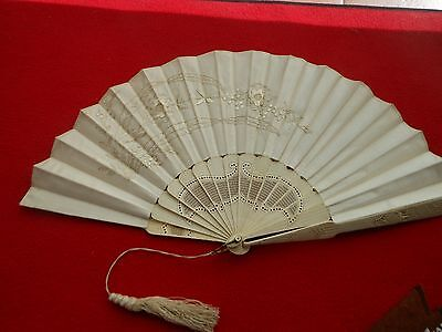 ANTIQUE CHINESE HAND CARVED SILK EEMBROIDERED  BONE FAN