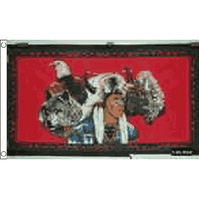 FREE UK Delivery! INDIAN EAGLE WOLF 5ft X 3ft Flag 100d PREMIUM Polyester
