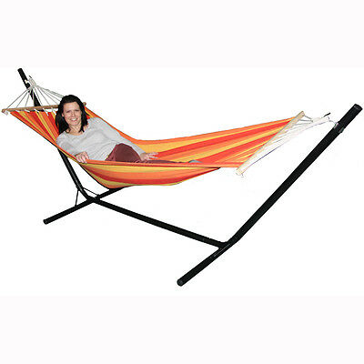 Redstone Hammock and Steel Stand - Garden Outdoor Lounger Swing Chair