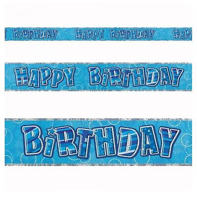 12ft Blue Happy Birthday Banner Glitz Foil Party Decorations Banner