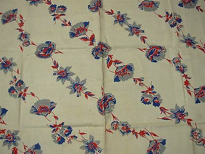 VINTAGE IVORY LINEN TABLECLOTH with RED BLUE POPPIES FLOWERS 50x54