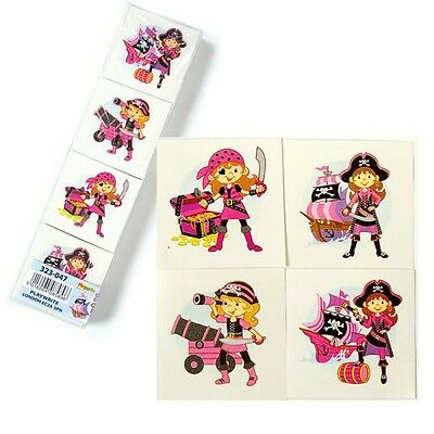 288 x PINK PIRATE TEMPORARY TATTOO 4 DESIGNS ~ PARTY LOOT BAG FILLER