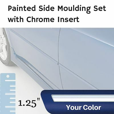 """Painted w/Chrome Insert 1.25"""" Body Side Moulding Set for Fiat 124 Convertible"""
