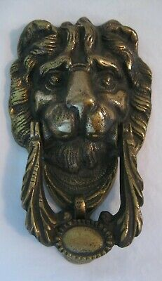Vintage Solid Brass Art Nouveau Figural Lions Head Door Knocker