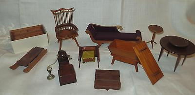 Vintage Wood Doll House furniture Miniatures Dresser Chest Chair Table Box Lot