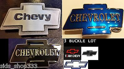 3 Classic CHEVY logo Belt Buckles blue silver and black