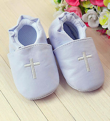 Baby Shower Boy Kid Infant White Christening Cross Wedding Party first Shoes