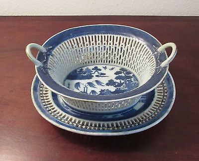 Antique Chinese Export Canton reticulated fruit basket Chestnut 18th/19th