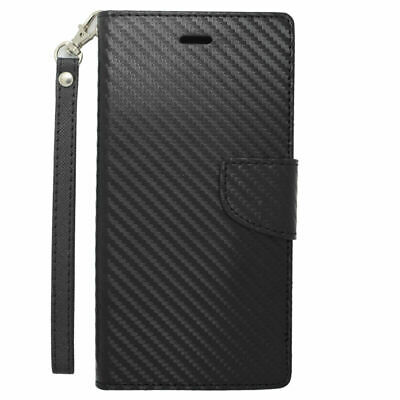 ALL MODELS Phone Cover Wallet Flap Pouch With I.D Holder BLACK CARBON FIBER Case