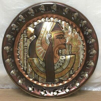 Beautiful Vintage Egyptian Egypt Hand Made Copper Wall Plaque Dish GREAT DETAIL!